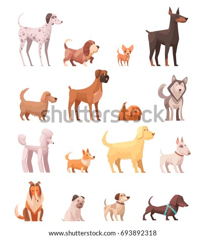 dog breeds retro cartoon icons