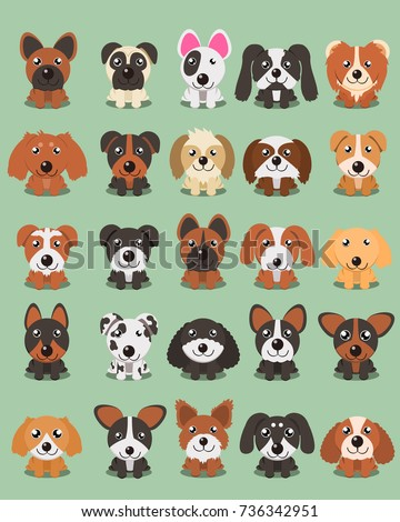 Dog breeds Vector Collection: Set of 25 different dog breeds in cartoon style.