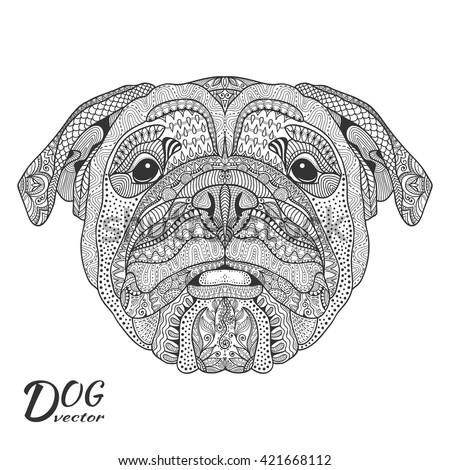 dog bulldog portrait hand