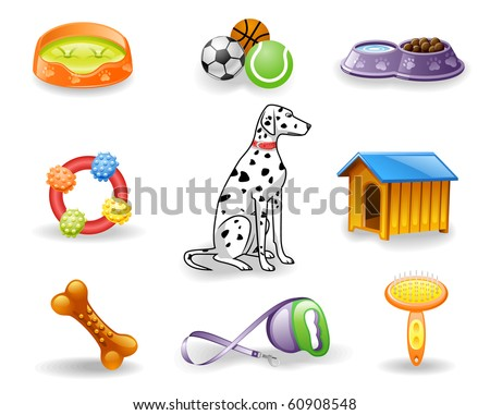 Dog care icon set.  Isolated on a white background.