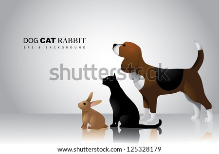 Dog Cat and Rabbit Vector Design EPS 8 no open shapes or paths grouped for easy editing.