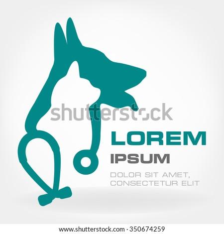 Dog, cat and stethoscope logo.