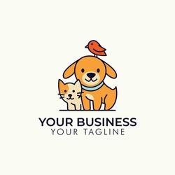 Dog Cat Bird Pet shop vector logo template