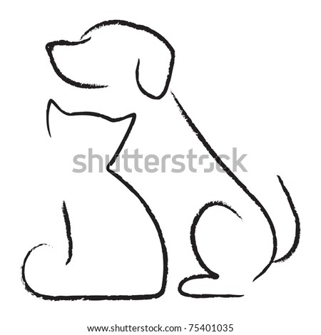 Dog and cat silhouette tattoo - photo#13