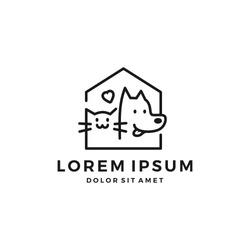 dog cat pet house home love logo vector icon line art outline