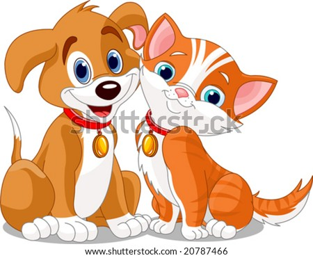 stock vector : dog & cat's friendship