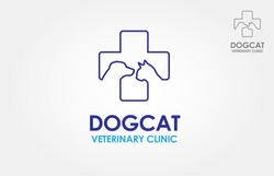 Dog Cat Veterinary Clinic Logo Template. Line symbols in negative, vector logo. Stylized silhouette cross incorporate with dog and cat. It's good for pet shop, clinic, care, or other pet activity.