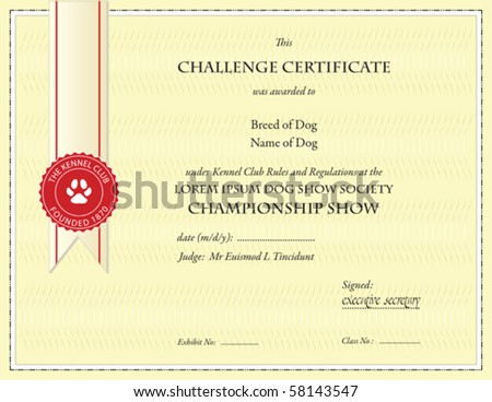 dog championship certificate template - Dog Show Certificate Template