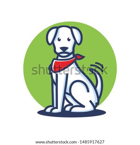 dog character logo templatewith bandana