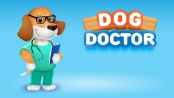 Dog doctor cute cartoon animal.Vector clip art illustration.