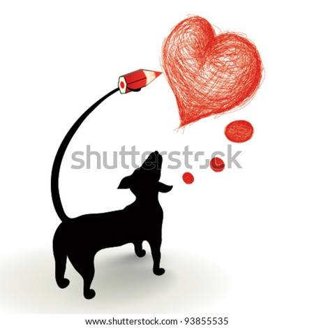 Dog drawing a heart