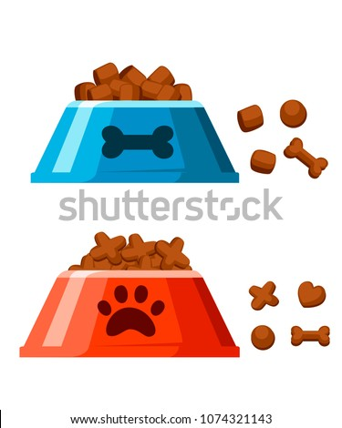 Dog dry food bowl. Bone shaped crisps. Red and blue pet bowl with dry food. Vector illustration isolated on white background. Web site page and mobile app design.