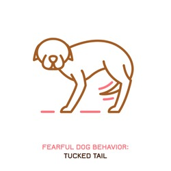 Dog fearful behavior icon. Domestic animal or pet tail language. A dog with a tucked tail. Doggy reaction. Simple icon, symbol, sign. Editable vector illustration isolated on white background
