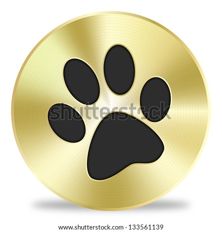 Dog footprint golden badge