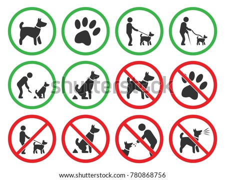 dog friendly and dog restriction signs, dog prohibited icons