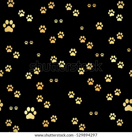 dog gold paw prints seamless