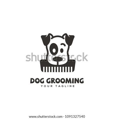 Dog grooming logo design template. Vector illustration.