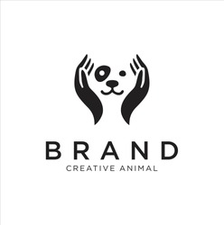 Dog Hand Logo Stock Illustrations . Dog care Logo . Pet care logo icon symbols