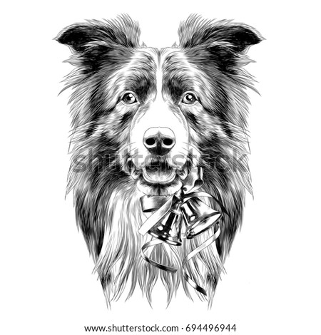 dog head breed border collie sketch vector graphics black and white monochrome new year bells