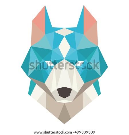dog head symbol isolated wolf