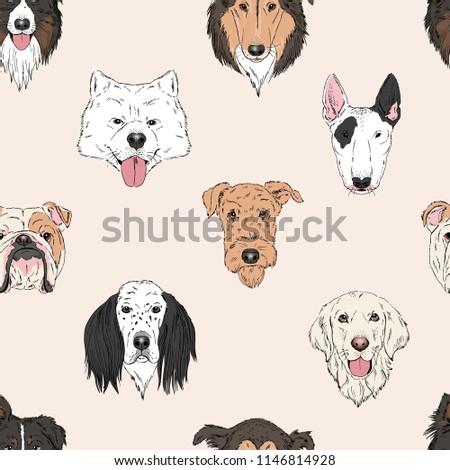 dog heads pattern