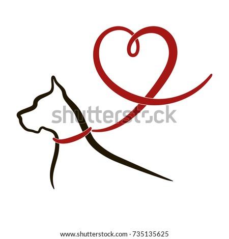 dog  heart black outline of