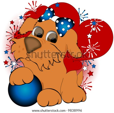 Dog, Hearts and Ball and Fireworks in red, white and blue.