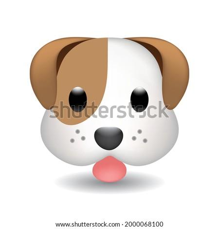 Dog Home Farm Animals Emoji Illustration Face Vector Design Art. Flat vector dog emoji. Dog Face vector flat icon. Isolated Puppy, dog emoji illustration