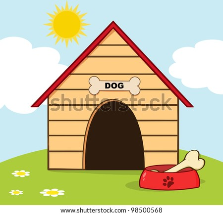Dog House With Bowl On A Hill. Vector Illustration