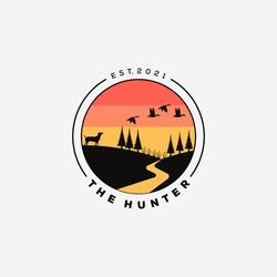 dog hunter logo vector illustration. dog hunting flying duck symbol