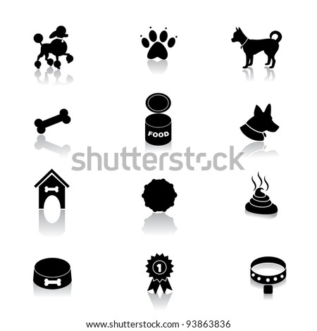 Dog Icon Symbol Set EPS 8 vector, grouped for easy editing. No open shapes or paths.