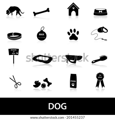 dog icons set eps10