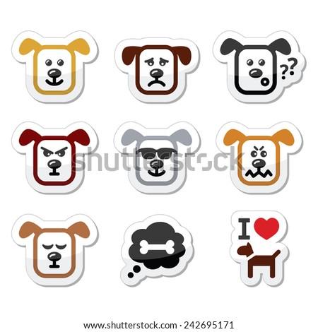 dog icons set   happy  sad