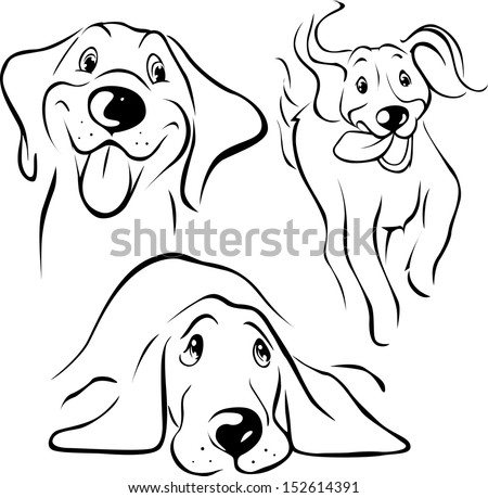 dog illustration - black line on white background