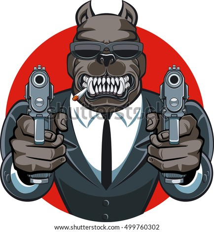 dog in suit aiming with guns