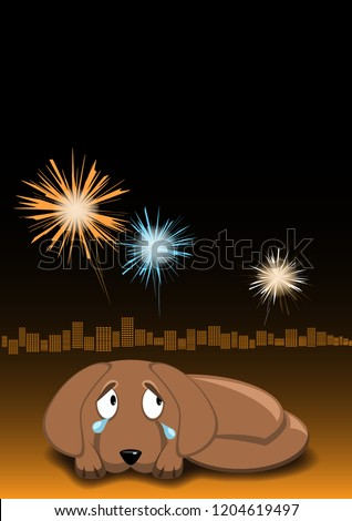 Dog is afraid of fireworks and crying. (Dogs afraid din sounds). Night sky, fireworks and city lights on background. Vector image. Eps 10.