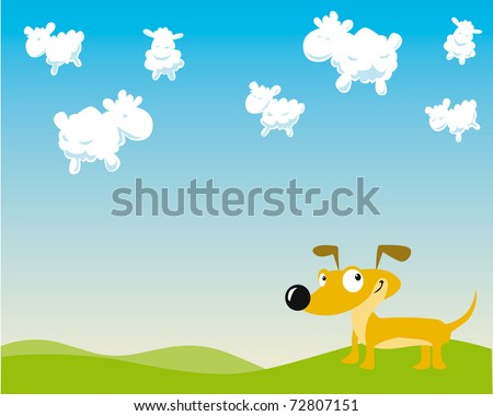 dog is counting sheep on the sky