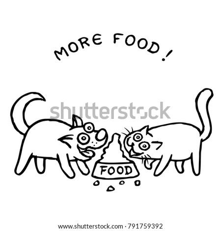 dog kik and cat tik eat