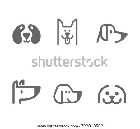 Dog line icon set. Vector illustration. Foto stock ©