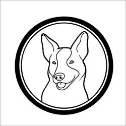 Dog logo design premium a big sign board, pet logo. Pet silhouette label illustration out line. Vector illustration.