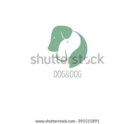 dog logo two dogs hugging