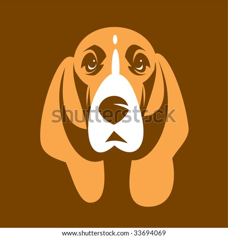 Dog of Basset. 2 colours without a gradient