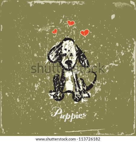 dog on vintage background hand...