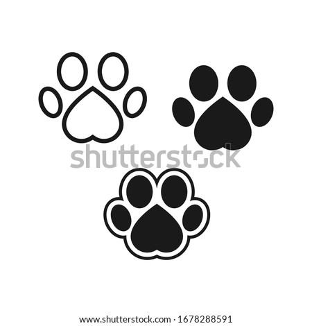 Dog or cat footprint vector icon illustration, animal f paw print isolated on white background Photo stock ©