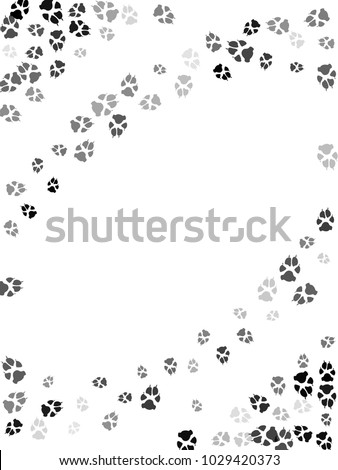 Dog or cat paw black footprint, isolated on white background. Doggo, puppy or kitten foot steps vector silhouette. Cute animal background of paw foot print for illustration or interior design.