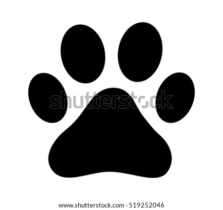 dog or cat paw print flat icon