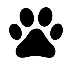 Dog or cat paw print flat vector icon for animal apps and websites