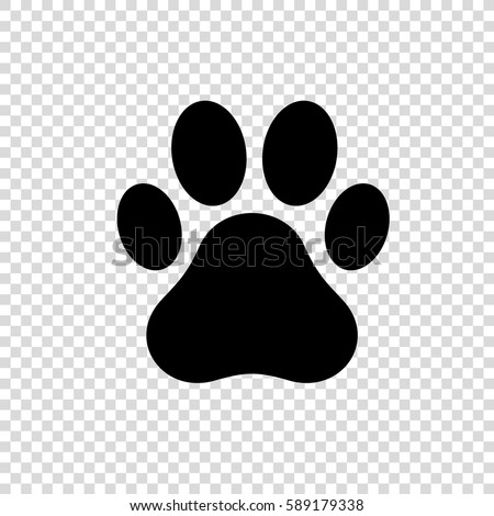 Dog or cat paw print vector logo.