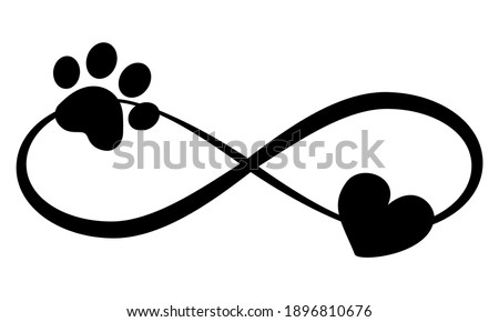 Dog or cat paw prints and heart - in infinity shape - lovely tattoo, ink. Lovely heart with paw print and heart inside infinity symbol. Modern design for pet lovers.