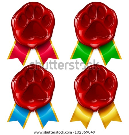 Dog or cat paw wax seal and color ribbon 2